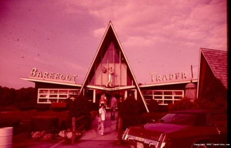 old photo of the front of the Barefoot Trader circa 1970's